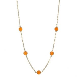 5 Bezel Carnelian Necklace