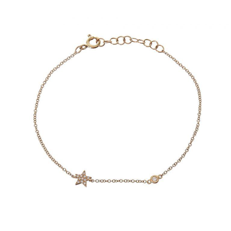 Pave Star & Single Bezel Diamond Bracelet