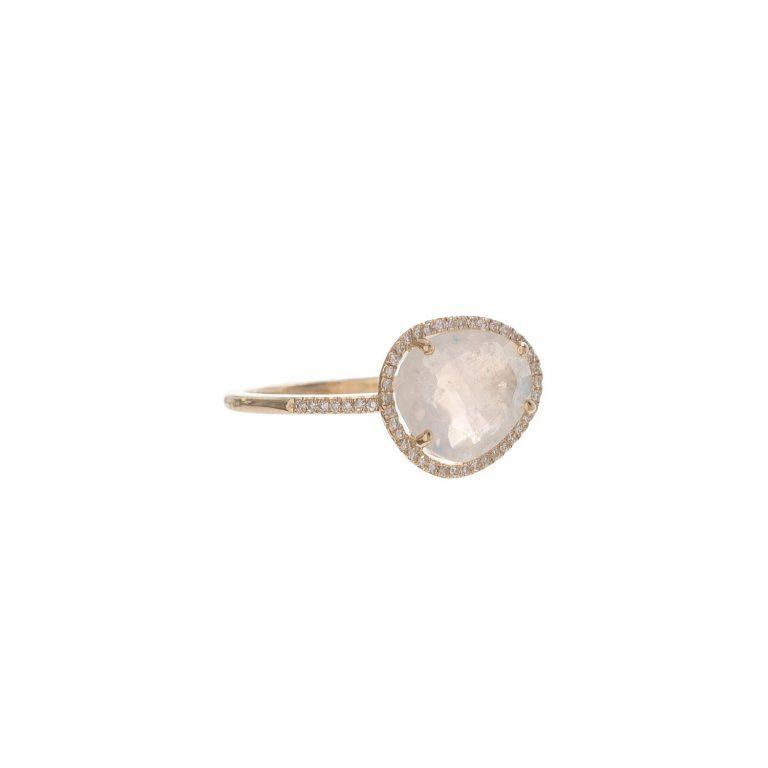Moonstone & Diamond Pebble Ring