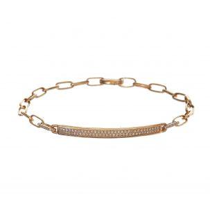 Pave ID Bar & Oval Link Bracelet