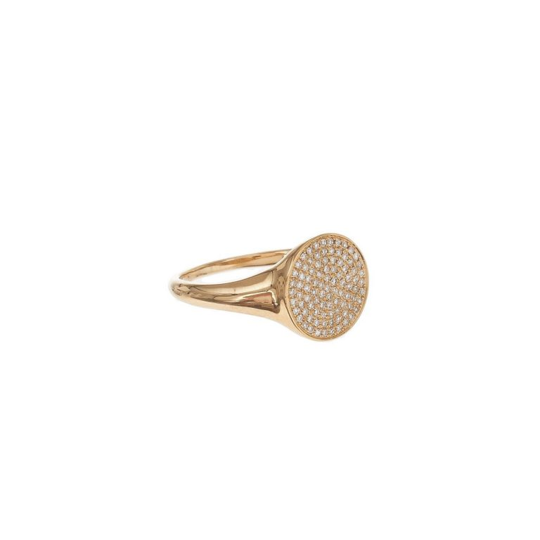 Pave Diamond Circle Signet Ring