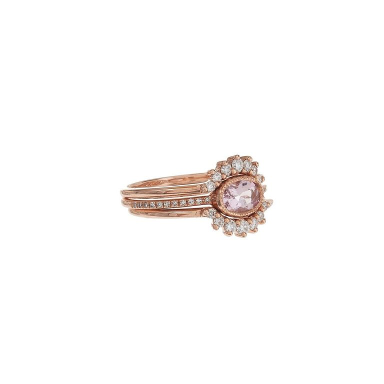 Oval Morganite & Curve Diamond Trio Ring Set