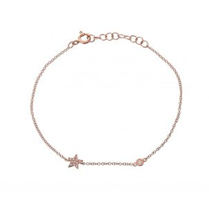 Pave Star & Single Bezel Diamond Bracelet
