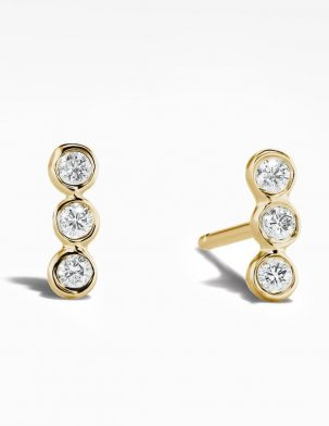 Three Diamond Bar Studs