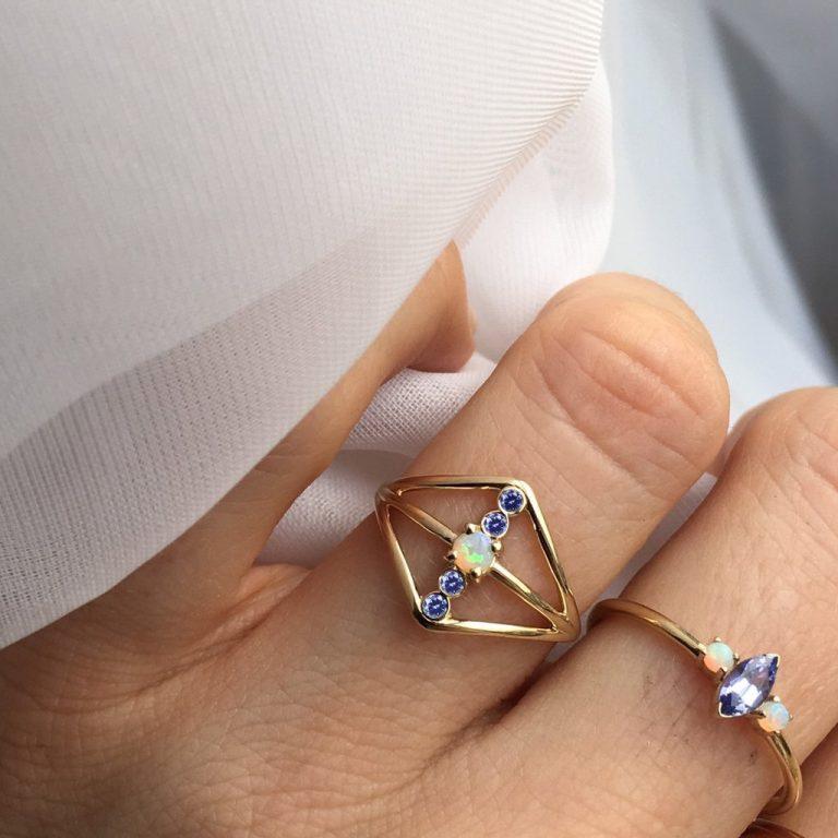 Tanzanite & Opal Warrior Shield Ring