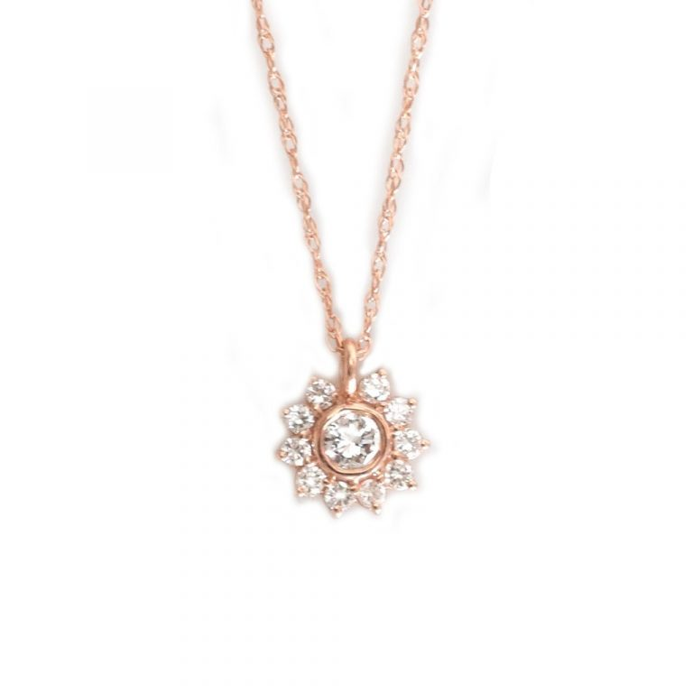 Diamond Sunflower Pendant