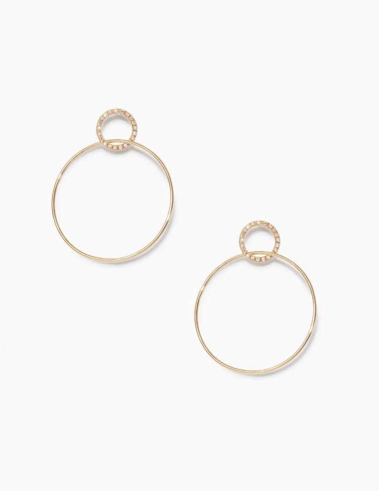 Pave Single Circle Earrings