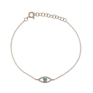 Turquoise Evil Eye Chain Bracelet in Yellow Gold