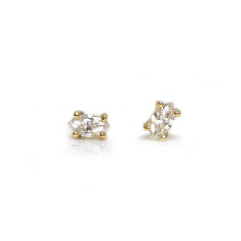 14K Gold Diamond Eye Studs