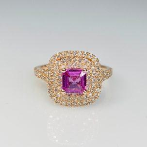 14K Rose Gold Asscher Cut Pink Sapphire Diamond Ring