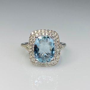 14K White Gold Aquamarine Diamond Ring 2.31/0.72ct