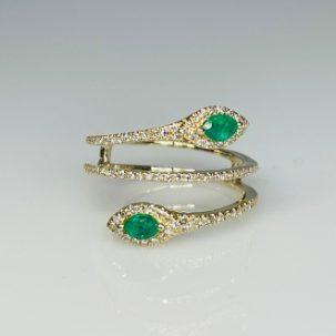 14 Karat Yellow Gold Emerald Diamond Ring