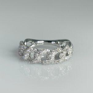 14 Karat White Gold Diamond Chain Ring