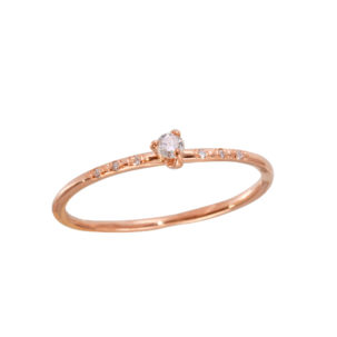 Diamond Prong with Pave Diamond Ring