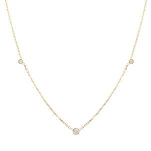 3 Diamond Bezel Necklace