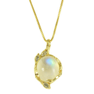 Moonstone with Diamond Marquis Leaves