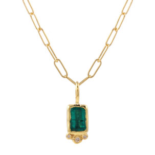 Rectangle Emerald Trio Diamond link Chain
