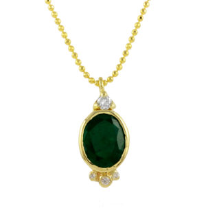 Oval Emerald Diamond Accents on a ball chain