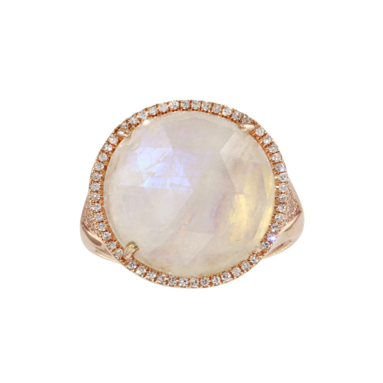 Moonstone Signet with Pave Diamonds