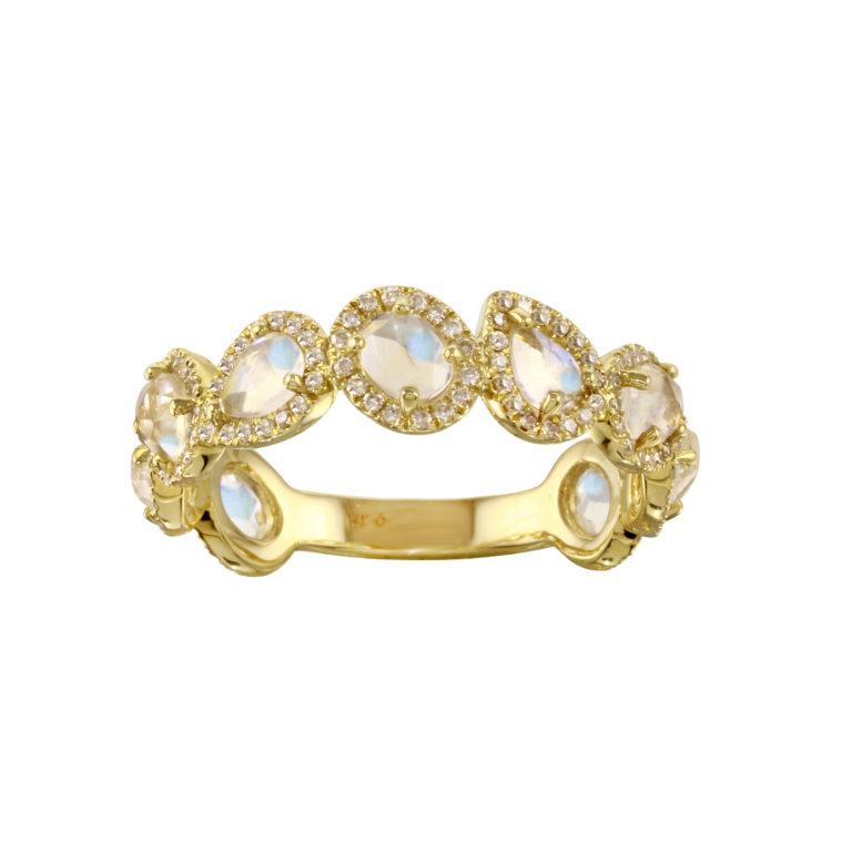 Pear & Oval Shape Moonstone Band with Pave Diamonds