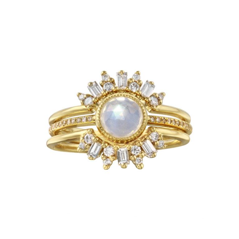 Rosecut Moontone Baguette Diamond Trio Ring Set