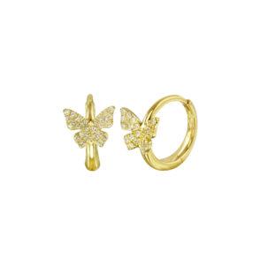 Pave Diamond Butterfly Huggies
