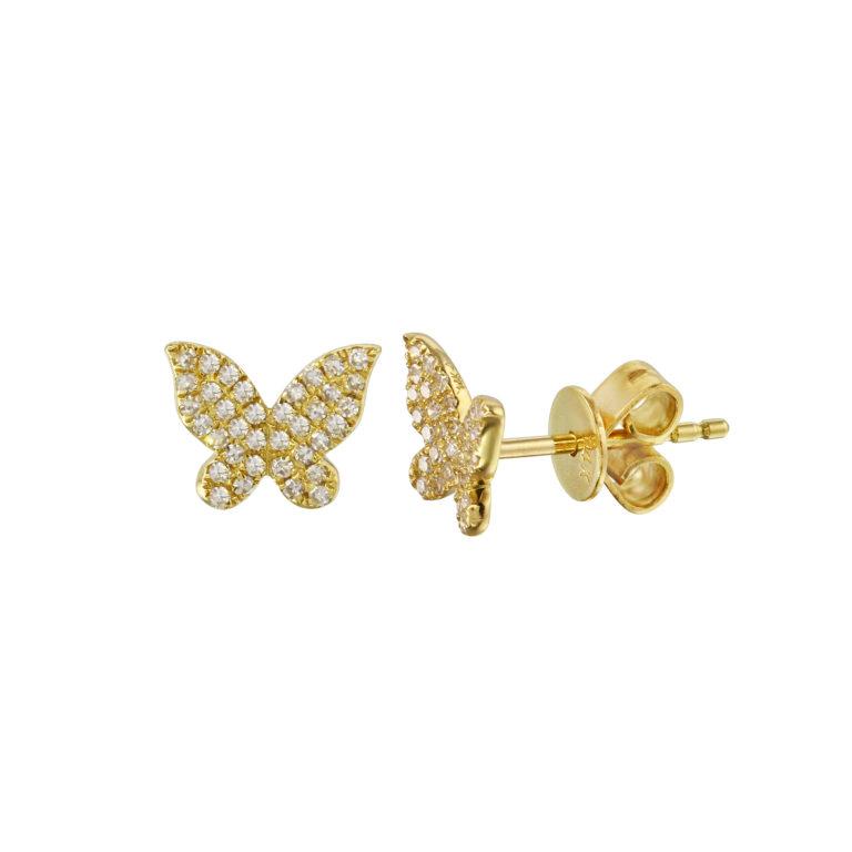 Pave Diamond Butterfly Studs