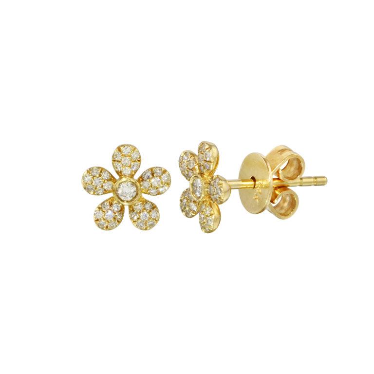 Pave Diamond Flower Studs