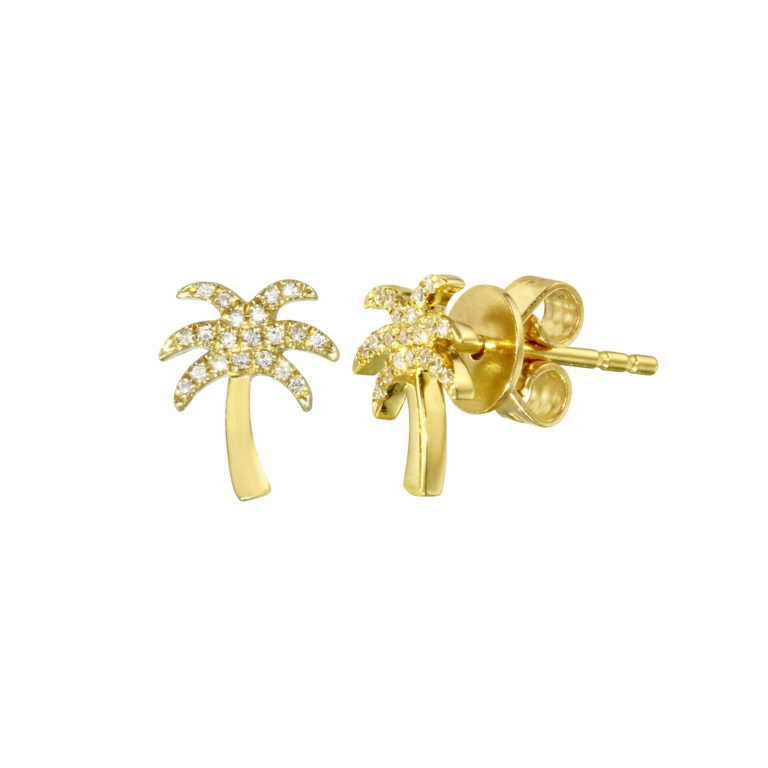 Pave Diamond Palm Tree Studs