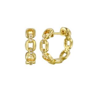 Chain Link Pave Diamond Huggies