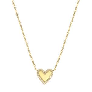 Smooth Heart Diamond Edge Necklace