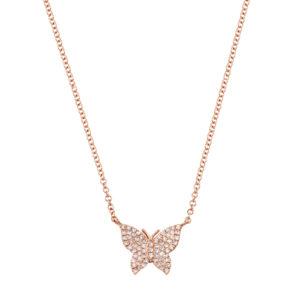Pave Diamond Butterfly Necklace