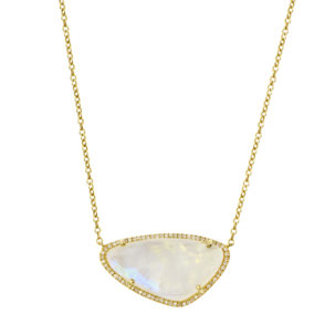Moonstone Necklace with Pave Border