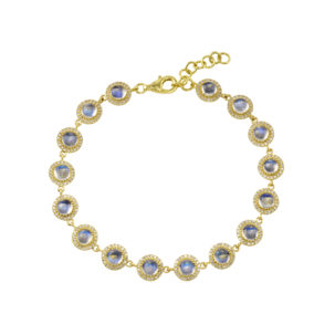16 Round Moonstones with Diamond Pave Edge Bracelet
