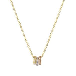 Mini diamond Trio ring Necklace
