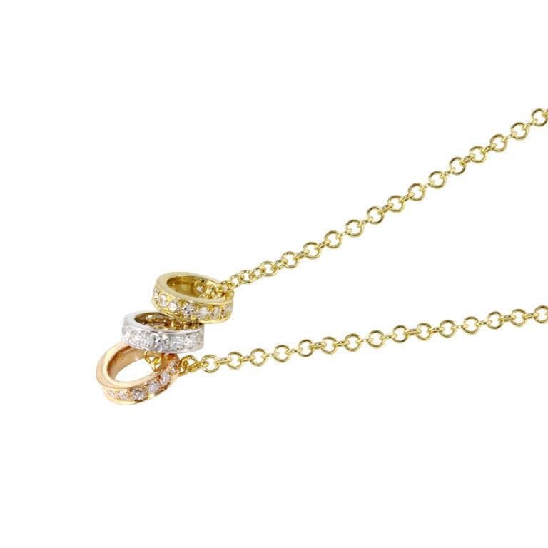 Mini Diamond Ring Trio Necklace