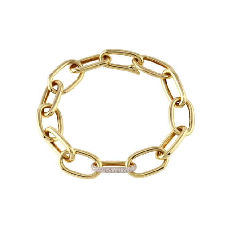 Large Oval Links with 1 Pave Diamond Link Bracelet