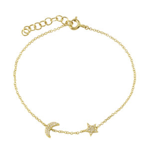 Moon and Star Pave Diamond Bracelet