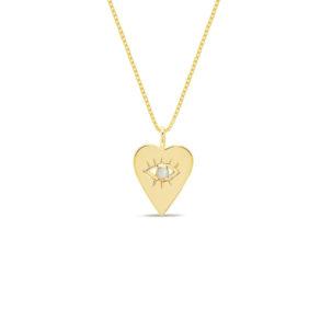 14K Yellow Gold Open Heart Evil Eye Necklace