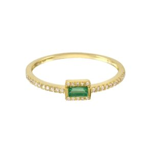 Emerald Baguette with Diamond Pave