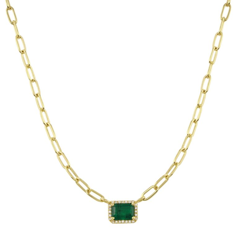 Emerald Cut Emerald with Pave Halo on Link Chain