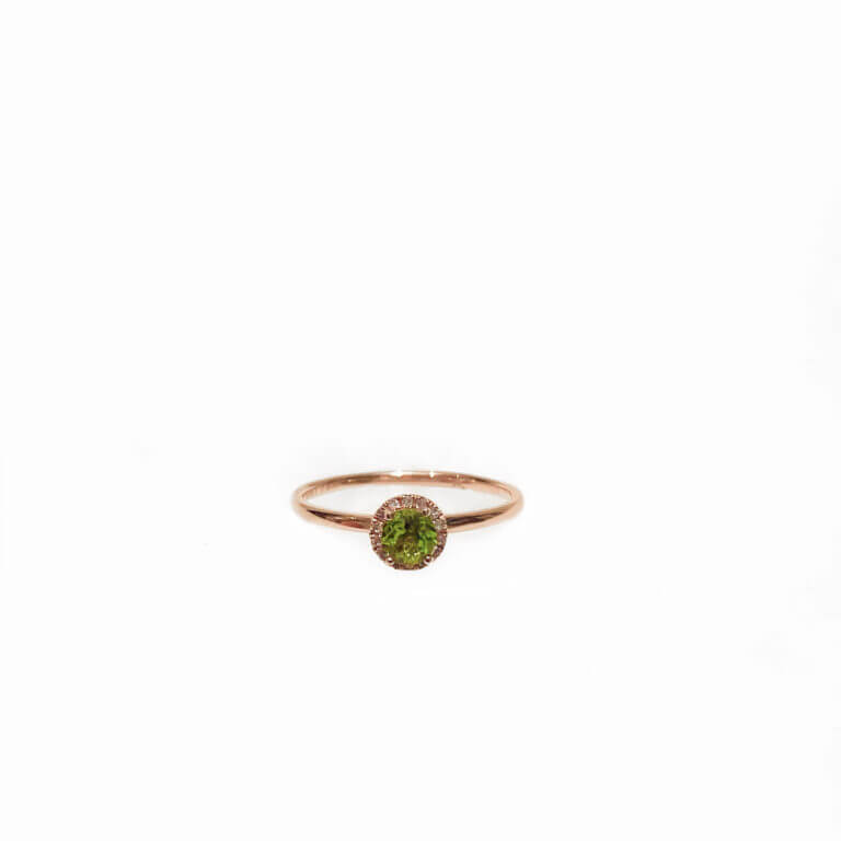 Peridot Ring with Pave Border