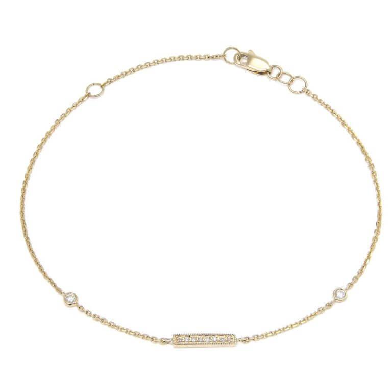 14k Yellow Gold Micro Pave Diamond Bar Bracelet