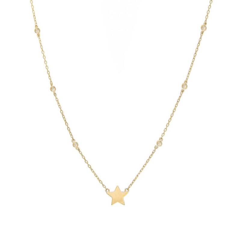 14k Yellow Gold Diamond by the Yard Single Bezel Diamond Star
