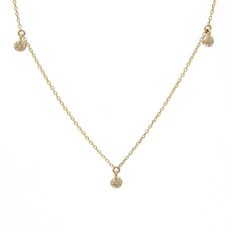 14k Yellow Gold Pave Diamond Gold Disk Necklace