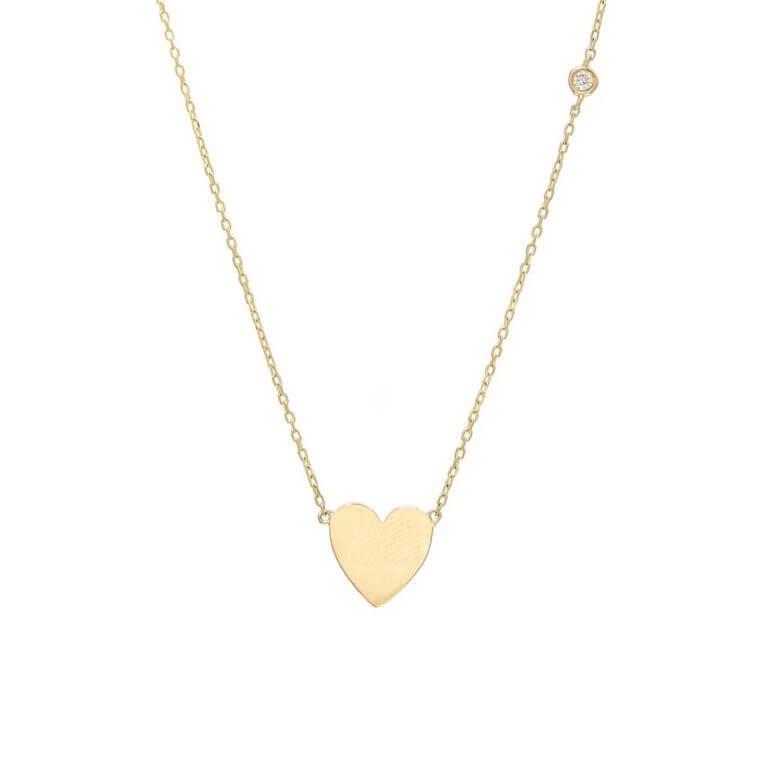 14k Yellow Gold Heart Necklace with single bezel set diamond