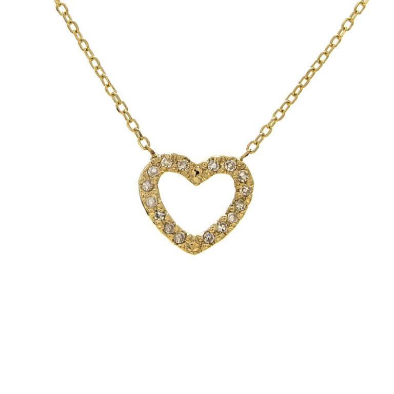14k Yellow Gold Micro Diamond Heart Necklace
