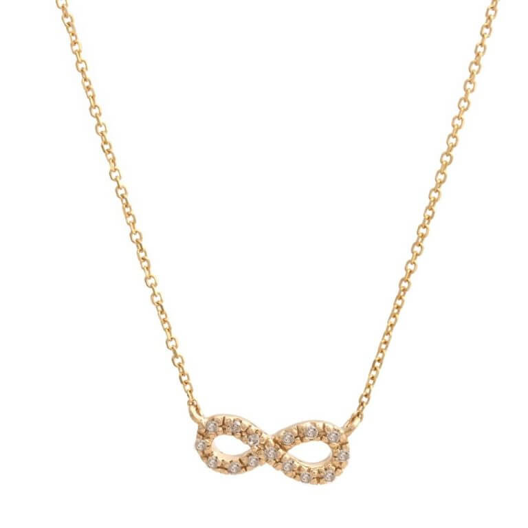 14k Yellow Gold Micro Pave Infinity Necklace