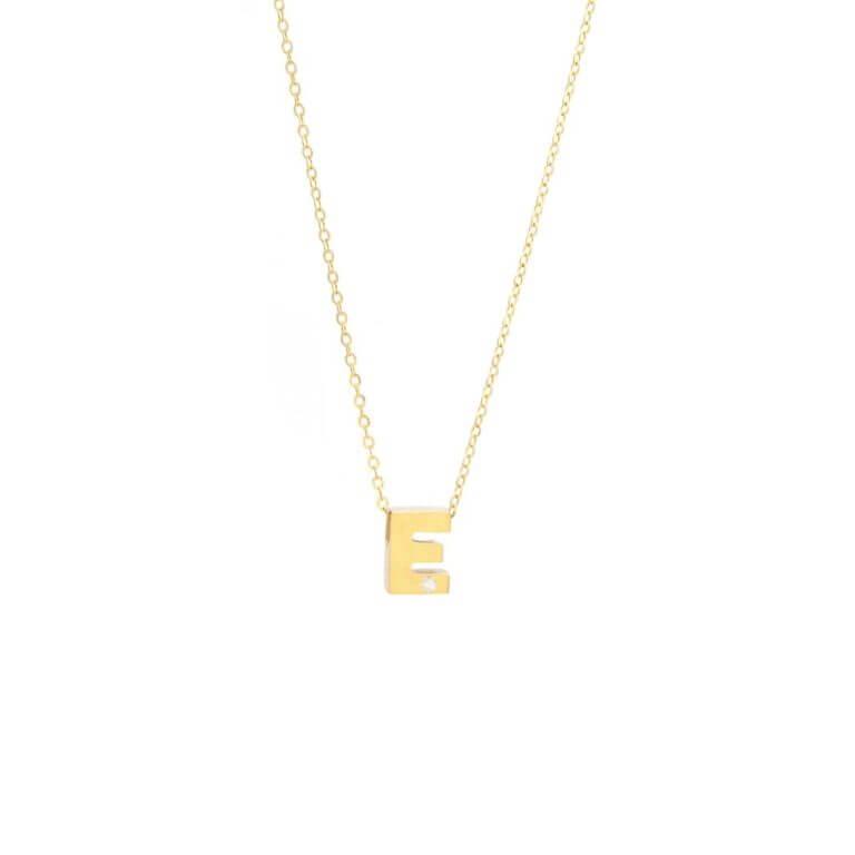 Single Initial with Round Bezel Diamond Necklace