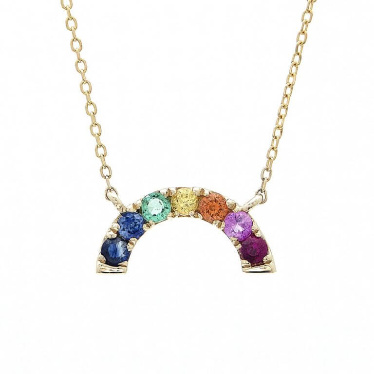 Multi-Gem 14k Gold Rainbow Necklace